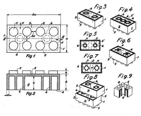 LEGO brick patent drawing