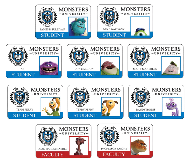 MU-IDcards monsteruniversitywallpaper.com